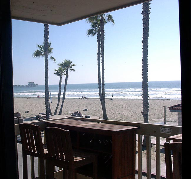 Oceanside Vacation Rental beachfront condo inside beach view, click to enlarge